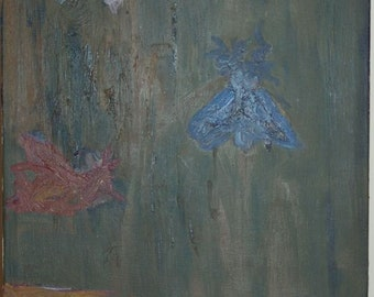 Scott Torkelson Original Oil on Canvas Moths to flame, bugs, light bulb, Untitled.