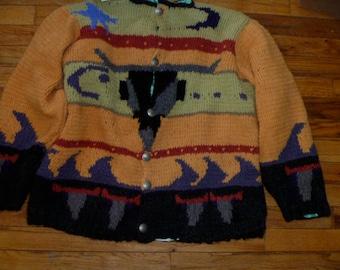 Bull head western motif original hand knit cardigan by Scott Torkelson Pewter buttons