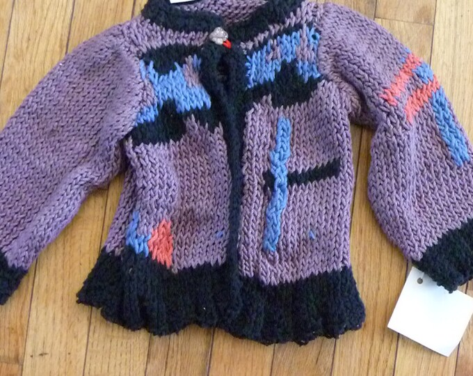 Hand Knit original baby caridgan   for infants 6 to 12 months Cotton dragonfly