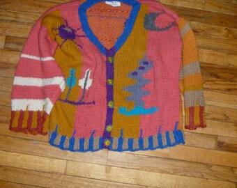 Flower bird motif original hand knit cardigan by Scott Torkelson rowel spur buttons