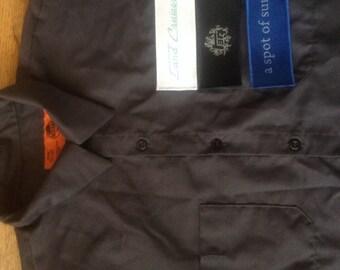 Land Cruiser mechanics shirt 40 series blueprint Hook and loop patch front charcoal