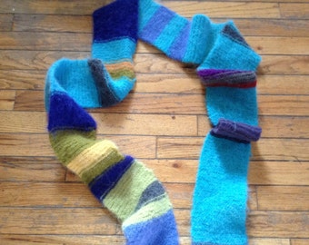 Felted Scarf colorful Dr. Who inspired Hand Knit by Scott Torkelson