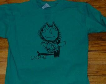 Sale! Green Youth Medium Ugle (Owl) shirt  Norwegian Series Designed by Katya