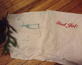 Norwegian reindeer Christmas God Jul Dish Towels cotton pair