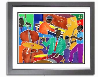 Big Jazz Band - Black Art Print, African American Art, New Orleans Jazz Art, Music Art Painting, Wall Art, Watercolor Print, Home Decor Art