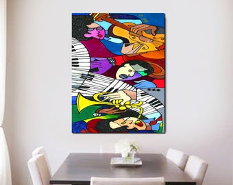 Jazz Quake Wall Canvas New Orleans Jazz Art, Colorful and Contemporary Art Jazz Painting, Home Decor Art, Abstract Art, Wall Art