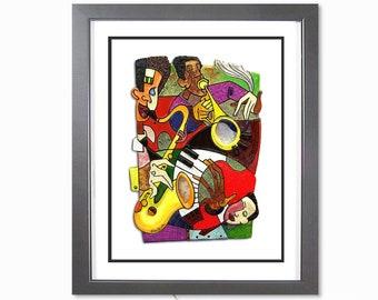 Jazz Band - Music Art Print, Jazz Art, New Orleans Jazz Art, Wall Art, Black Art, African American Art, Home Decor Art, Jazz Gift