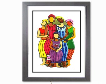 African Art Print | African American Art | Black Art Print | African Wall Art | African Painting of Women | African Gift | ALL MY SISTERS