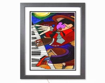 Feet On My Piano - Music Art Print, Abstract Jazz Art, Contemporary Art, Living Room Decor, Music Wall Art, New Orleans Jazz , Piano Player