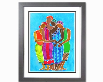 African Art Print | African American Art | African Sisters Painting | African Wall Decor | Watercolor Art | Art Gift For Women | MY SISTERS