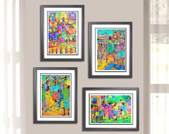 """Ethnic Collection 4 Pc Matted Black Art Print Set, Watercolor Prints, Perfect Holiday Christmas Gift, Sizes 8"""" x 10, 11""""x 14' and 16""""x 20""""s"""