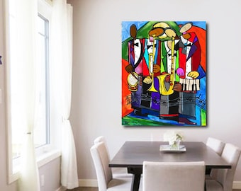 House Band - Canvas Wall Art , Colorful Abstract Art, New Orleans Jazz Art, Canvas Painting, Wall Art, Home Decor Art, Large Jazz Canvas