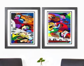2 Piece Music Set Black Art Prints- African American Art, New Orleans Jazz Art, Home Decor Art, Jazz Paintings, Abstract Wall Art