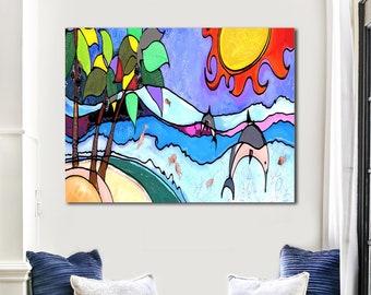 Wow Sun - Contemporary Canvas Wall Art, Ocean Painting, Abstract Wall Art, Beach Art, Office Wall Art, Living Room Decor, Beach Painting