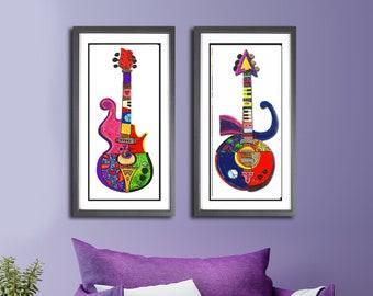 2 Piece Prince Guitar Set Large Wall Prints,Jazz Art, Purple Rain Guitars, Music Studio Decor.