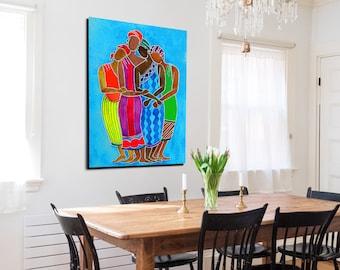 My Sisters - African Wall Canvas Art, Canvas Wall Art, African American Art, Black Women Canvas Painting, Black Art Canvas, Home Decor Art.