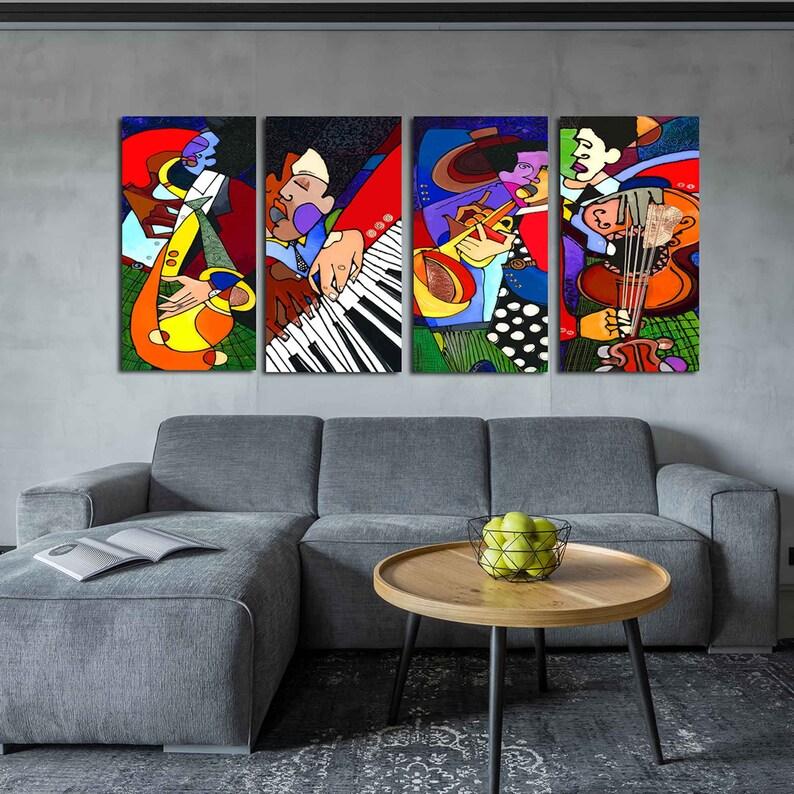 Large Jazz Art Set Canvas Wall Art New Orleans Jazz Art Home image 0