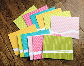 Set of 12 handmade greeting cards - various occasions