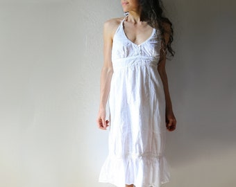 Indian Cotton Sun Dress // White Gauze Halter Style // S-M