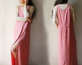 Button Front Jumper Dress // Salmon Pink // Large
