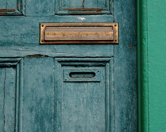 Gentil Blue Door, Mail Slot, Green, Square Photograph