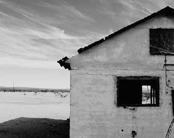 Abandoned House, Desert, sky, clouds, empty, black and white, Photograph