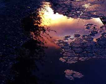 Sunset Reflection 2, dark, Water,  Abstract, dreamlike, puddle, square, 8x8, orange, red, black, surreal, photograph