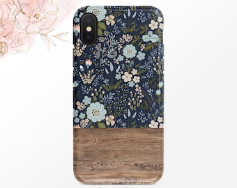 Blue and Pink Floral Pattern Phone Case Navy iPhone Case Wood Grain  iPhone X Case iPhone XS iPhone XR Case iPhone XS Max Case Nf