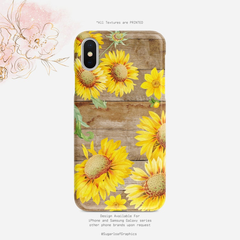 lowest price 14b56 c50e2 Sunflower Art Phone Case Barn Wood Yellow Floral iPhone Case Samsung Case  iPhone X Case iPhone XS Case iPhone XR Case iPhone XS Max Case