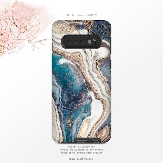 Navy and Teal Ocean Swirls Samsung S10 Case