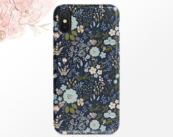 Blue and Pink Floral Pattern Phone Case Navy iPhone Case Flower Art iPhone X Case iPhone XS Case iPhone XR Case iPhone XS Max Case  Nf