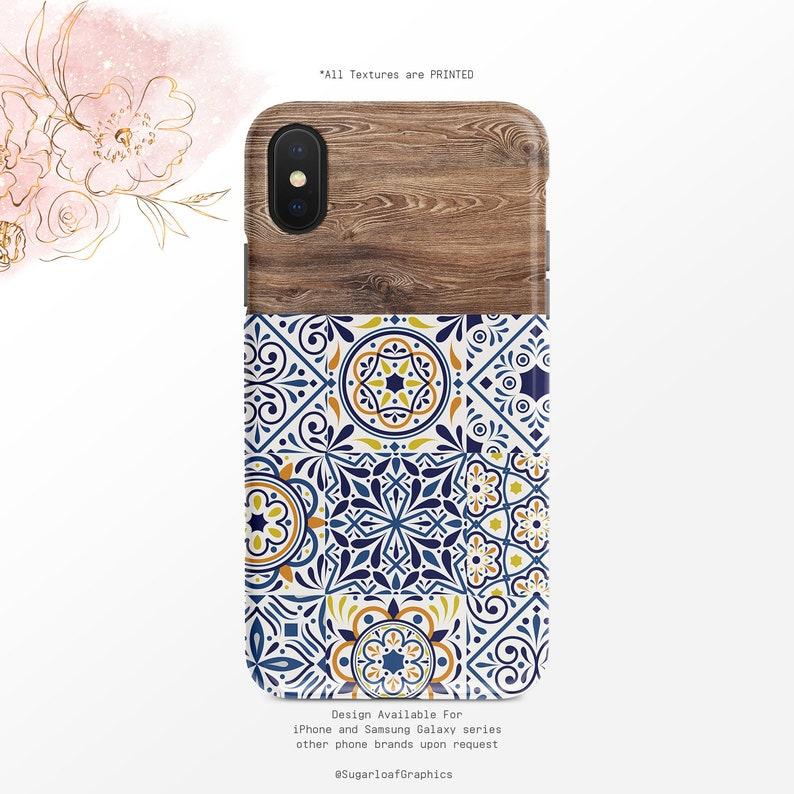 Portuguese Tile Phone Case Wood Grain Pattern iPhone Case Blue  iPhone X Case iPhone XS Case iPhone XR Case iPhone XS Max Case Nf