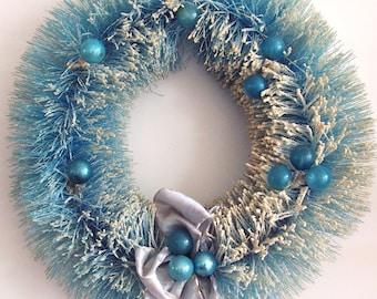1950s Vintage AQUA BLUE Christmas Wreath - 17 inch, Bottlebrush, Blue Mercury Glass Ornaments, Original Ribbon Bow.