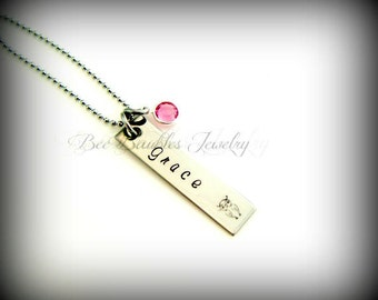 Hand Stamped Jewelry Name and Birthstone Hand Stamped Necklace - Hand Stamped Stainless Steel