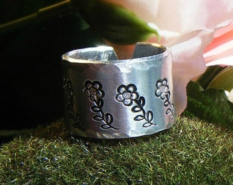 Hand Stamped Jewelry   Flower Design Wrap Ring
