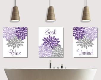Relax Soak Unwind Bathroom Wall Art Prints or Canvas, Purple Lavender Gray Flower Burst Pictures Bath Quotes, Floral Bathroom Decor Set of 3