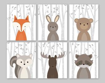 Forest Animals Wall Art, Woodland Nursery Decor, Woodland Nursery Art Prints, Forest Friends, Forest Nursery Baby Boy Nursery Decor Set of 6