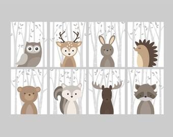 Baby Jungen Kinderzimmer Kunst, Wald Kindergarten Tiere, Baby Raum Dekor,  Wald Animal Prints, Set Von 8 Eule Hirsch Hase Bär Eichhörnchen Elch  Waschbär