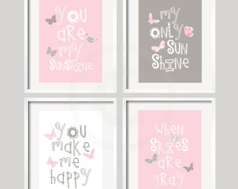 You Are My Sunshine Art Prints  - Pink and Gray with BUTTERFLIES - 5x7 wall art, baby shower gift, for girl