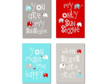 Gray, Aqua and Red Nursery Decor Prints - You Are My Sunshine - Elephants and birds - baby shower gift, for boy or girl