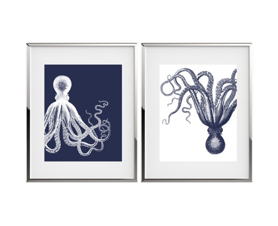 Octopus Art Nautical Decor Kraken Art Print Set Bathroom