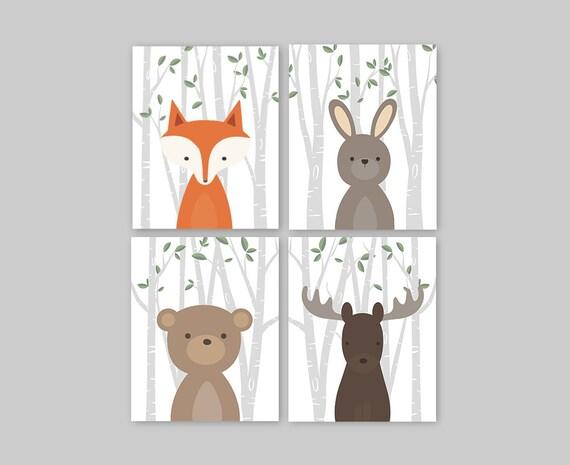 Wald Tiere Wald Tier Dekor Kinderzimmer Kunstdrucke | Etsy