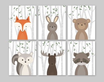 Baby Animals Nursery Wall Art Boy Woodland Nursery Decor Forest Creatures Pictures Set of 6 illustrations Fox Bear Moose PRINTS or CANVAS