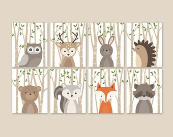 Forest animal nursery prints set of 8 Woodland animals nursery Woodland baby animal pictures Forest creatures PRINTS or CANVAS 028 HOME