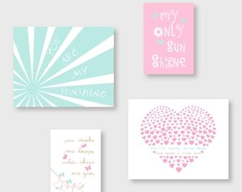 You Are My Sunshine girl nursery decor, Maya colors,  Pink,  Aqua and beige kid Wall Art  by YassisPlace