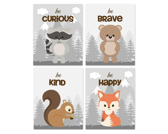 Forest Nursery Gender Neutral Nursery Decor Kids Room Set of Four 11x14 Inch Canvas Bear Boho Woodland Animal Collection Owl Childrens Wall Art Prints Deer Woodland Nursery Fox