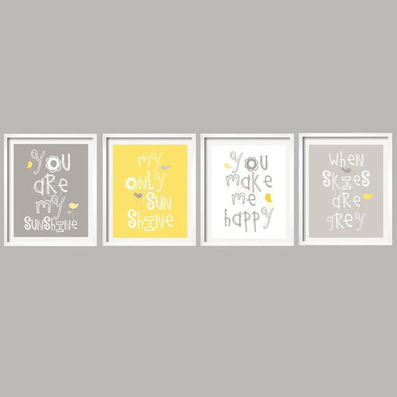 SALE Kids Wall Art You Are My Sunshine Yellow and Gray Nursery | Etsy
