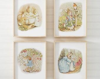 PETER RABBIT Wall Art Peter Rabbit Prints Vintage Boy Nursery Decor Beatrix Potter Baby Shower Gift (PR-001) 4B