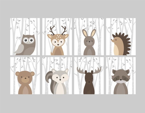 Baby Boy Nursery Art Woodland Nursery Animals Baby Room Etsy Simple Etsy Baby Room
