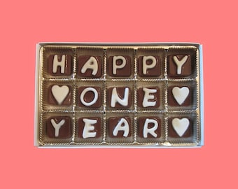 1st anniversary gift men him her boyfriend girlfriend gift one 1 year wedding anniversary date we met happy 1 year cubic chocolate letters